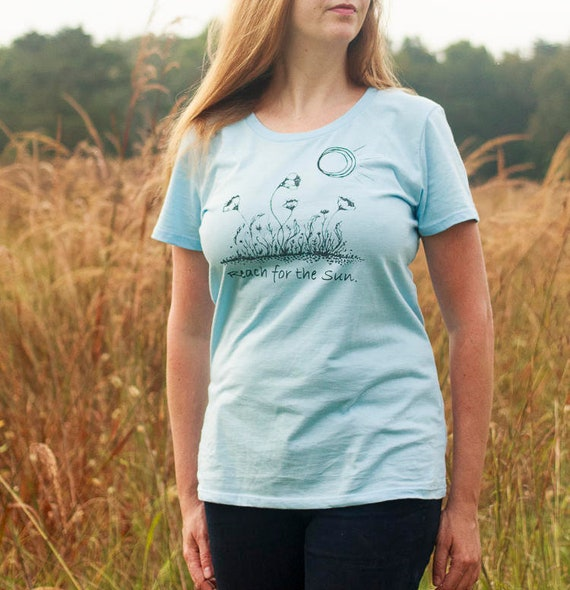 Organic Cotton Screen Printed T Shirt / Reach for the Sun Tee / Poppy Drawing Printed T Shirt / Ready to Ship