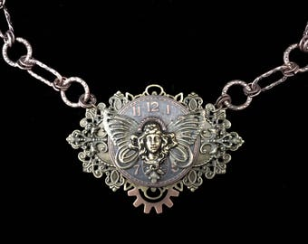 Steampunk Fairy Necklace- Steampunk Necklace- Steampunk Art- Assemblage Art- Steampunk Jewelry- Steampunk Clothing- Steampunk Costume