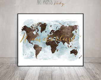 Wanderlust world map etsy wanderlust map poster wanderlust world map print art print travel map large gumiabroncs Image collections