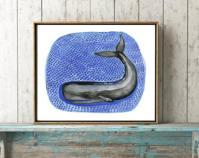 Sperm Whale Print, Whale Illustration, Whale Art, Nautical Print, Kids Room Decor, Nautical Art, Whale Watercolor