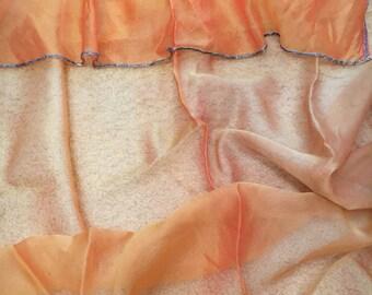 Beautiful silk window curtain with vintage beaded trim