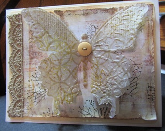 Vintage-Look Butterfly Card / Shabby Chic Wife, Mom, Butterfly Birthday Card / Distressed Birthday or Any Occasion Card