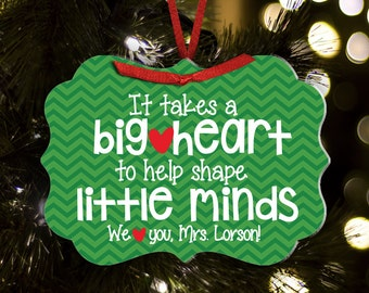 Personalized teacher ornament big heart little minds teacher christmas gift ornament TROBHLM1