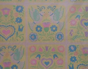 Vintage Gift Wrap 1970s Wedding Wrapping Paper 2 Sheets NIP- Yellow Penn Dutch Print