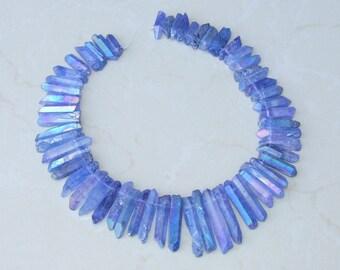 Light Purple Titanium Quartz Points, AB Raw Quartz Crystal Points,  - Full Quartz Strand - 21mm - 45mm - 9850