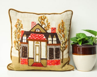 Vintage Crewel Embroidered Decorative Pillow - House Pillow