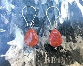 Red Jasper & Balinese Sterling Silver Earrings