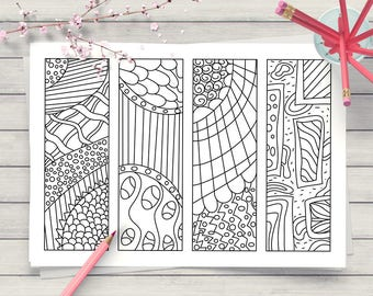 Zendoodle Coloring Page Bookmarks, DIY Bookmarks, Printable Colouring for Adults + Kids, Abstract Printable Coloring Page, Digital Download
