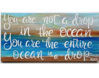 Beach Landscape Painting. Wall art. Original artwork with inspirational quote. Rumi quote on beach background. Painting on wrapped canvas.