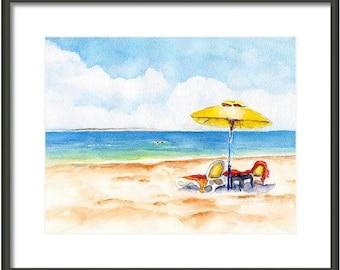 Beach chair painting, ORIGINAL Watercolor, 8x10, Beachy, Beach umbrella, Coastal decor, Beach House art, wall art, Lake house, Cottage