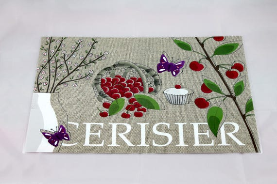"Way linen placemat illustrated and plastified ""Cherry"""