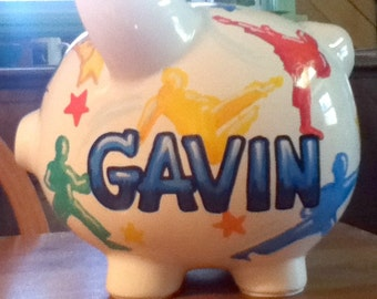 Personalized Piggy Bank Karate Design Primary Colors Handpainted