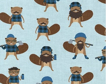 Burly Beaver on Blue from Robert Kaufman's Burly Beaver Collection by Andie Hanna