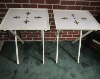 Vintage PAIR of Mid Century Modern White Wood with Gold Fleur de Lis Design TV Snack Trays Folding Tables