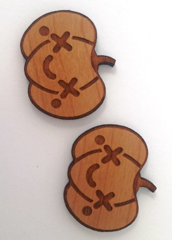 Laser Cut Supplies- 1 Piece.Kawaii Pumpkin Smile Charms - Cherry Wood-Laser Cut- Little Laser Lab Sustainable Wood Products