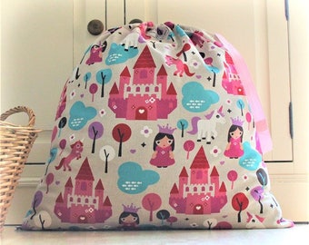 Large Toy Bag / Laundry Bag in Fairy Tale Princess, Castle and Unicorn Cotton Fabric