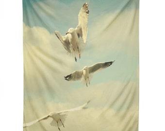 Wall Tapestry: Flying Seagulls tapestry, college dorm decor, birds wall decor, dreamy kids bedroom decor, whimsical sky blue nursery decor