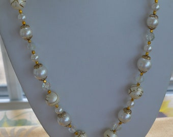 """Faux Pearl, Crystal Tassel Necklace, Gold tone, Vintage, 25"""" (F10)"""