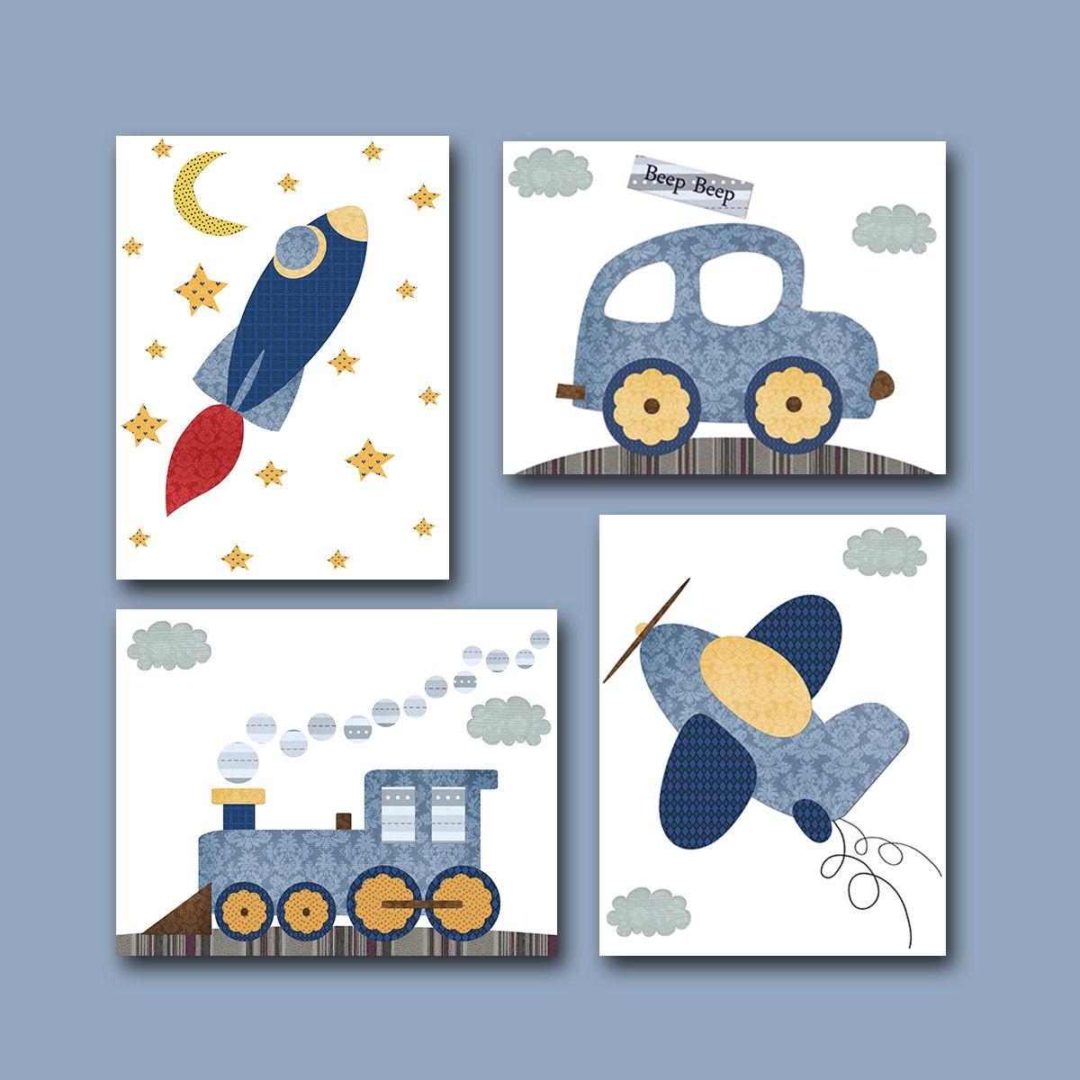 Boy S Room Airplane And Constellation Wall Map: Car Rocket Plane Train Baby Boy Nursery Decor Children Art