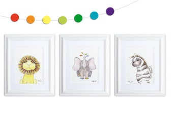 Rainbow Nursery Safari Animals Art Print Set, Jungle Animals Nursery Art, Lion Art Print, Elephant Nursery, Zebra Art, Rainbow Baby Shower