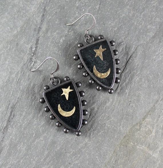 Bohemian Chic ~ Rustic Romantic ~ Moon and Star ~ Night Sky ~ Shield earrings