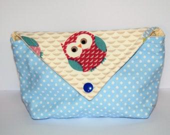 Cotton pouch, owl makeup bag