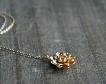 Gold Lotus Necklace ... symbolic flower pendant on a dainty gold filled chain