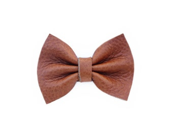 Brown Leather Girl Hair Bow | Newborn / Baby / Toddler / Child | Nylon Headband or Clip