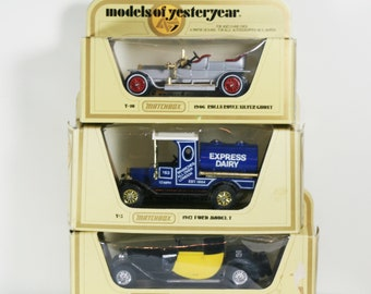 Vintage Matchbox Models of Yesteryear - Rolls Royce, Ford Model T, Bugatti Set of 3