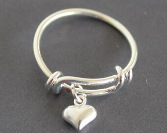 Silver heart ring, charm ring, dangle ring, ring for women, ladie's ring, stackable ring, adjustable ring, expandable ring, gift for her