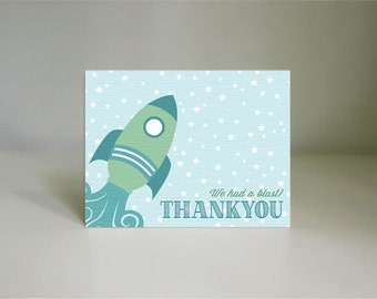 ROCKET Thank You Card in Seafoam Green- Instant Printable Download