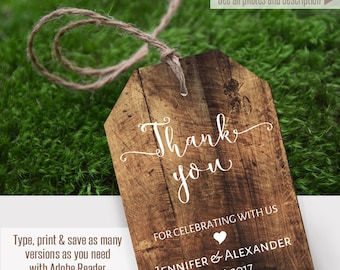 Thank you tags, printable rustic tags, Instant Download, Self Editable PDF file T101