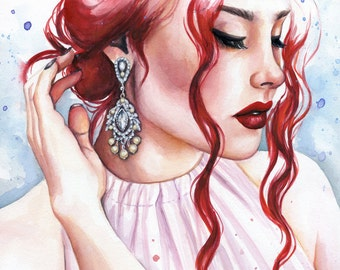 Delicate Glamour Portrait Painting ACEO Giclee Print by Emily Luella