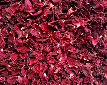 Dried Rose Petal Confetti | Deep Red/ Velvet Burgundy Flower Petals | Biodegradable Petals for Weddings | 0.5 - 1 litre/bulk orders