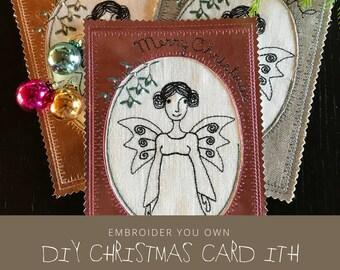 Christmas Cards ITH. Angel motif. Embroider you own Card. DIY. 2 sizes. Three Languages: English. German. Danish/Swedish