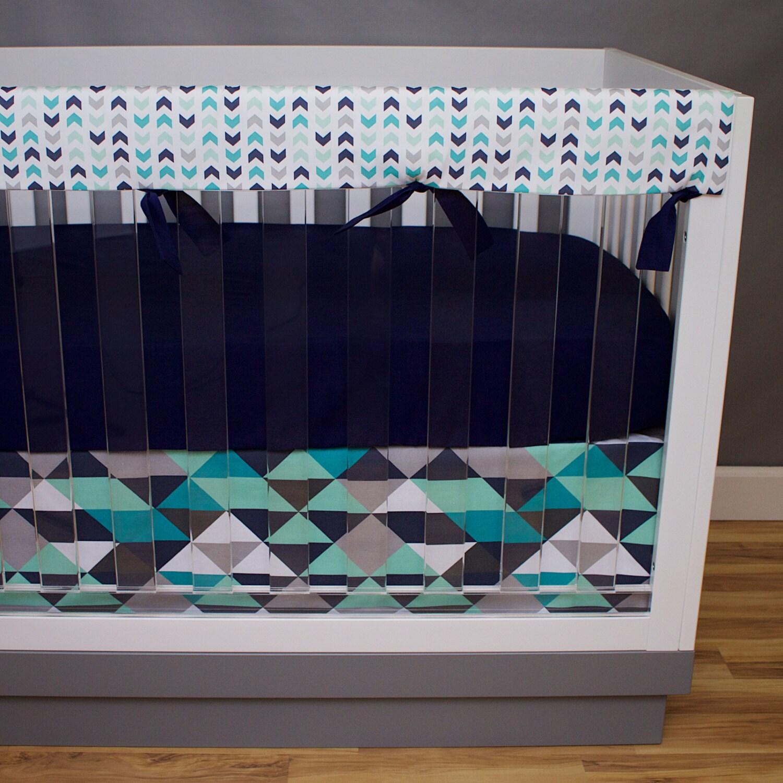Boy Nursery Set Boy Crib Bedding Navy and Mint Crib Skirt