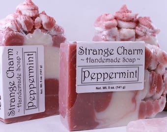 Peppermint soap- Holiday soap- Cold Process Soap- Natural Olive Oil- Candy cane - Soap Bar- Natural Soap- Decorative soap- Xmas soap
