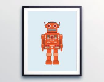 ROBOT WALL PRINT-  Retro Robot Art- Art for Boys Room- Robot Nursery Art- Robot Nursery Decor- Kid Bedrooms- Boys Room Art-  Orange Decor