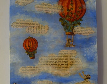 Balloons in the Sky Dream, Mixed Media Art, Collage Painting, Wall Art