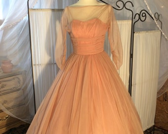 1950's prom & party dress- Cotton Candy Shell-Pink, full skirt, 3/4 sleeves, stunning