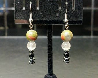 Unique Unakite, Rose Quartz and Black Jasper Crystal Dangle Earrings // Warm and Comforting // Stylish and Sleek // Green, Pink, Red & Black