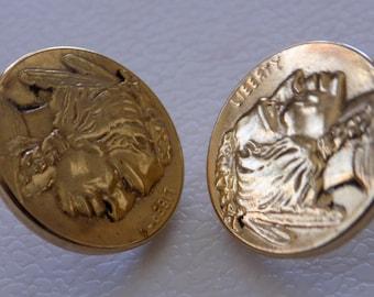 Vintage earrings,lightweight Native tribal Southwestern Liberty faux coin stud earrings,