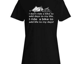 I Don't Ride Bike Motorcycle Camping Ladies T-shirt aa120f