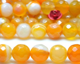 47 pcs of Orange Banded Agate Faceted round beads in 8mm