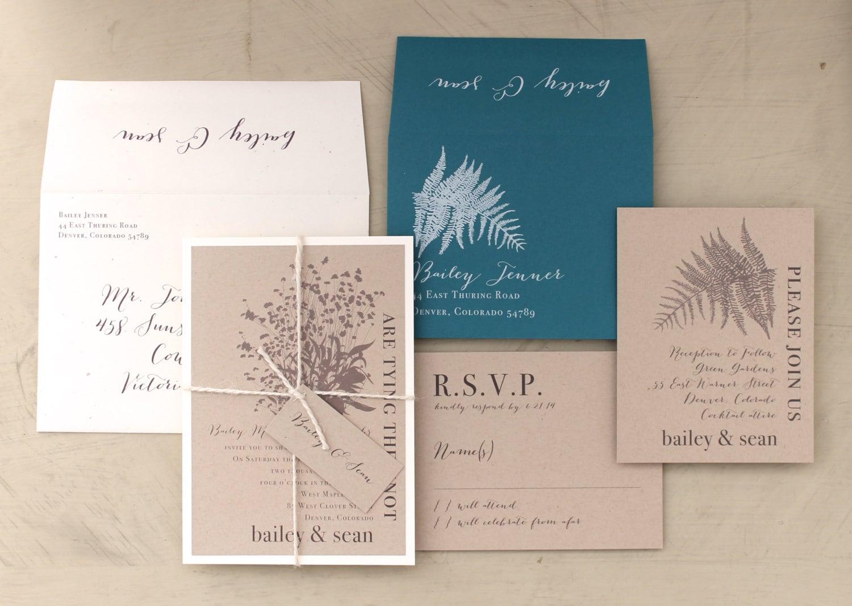 Enchanted Woodland Wedding Invitations Taupe Ivory Teal