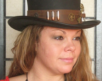 Steampunk Hat Hunter Time Traveller Key Holder Glass Vial and Bullets Leather Top Hat 2 Tones