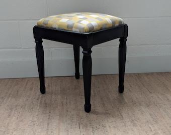 Vintage Sewing Bench, Upholstered Footstool, Vintage Footstool