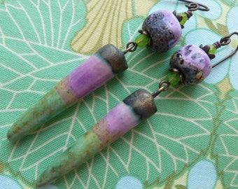 Lily Pad Earrings, Rustic Organic Ceramic Spikes, Boho Earrings, Spike Earrings, InspireGlassStudio, Northernblooms