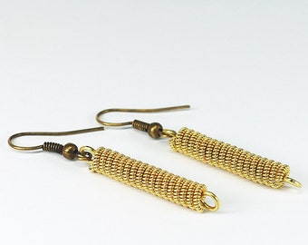 Guitar String Jewelry- Moder Minimal Earrings, Upcycled Brass Guitar String Earrings, Guitar Player Gift, Music Jewelry by Tanith Rohe