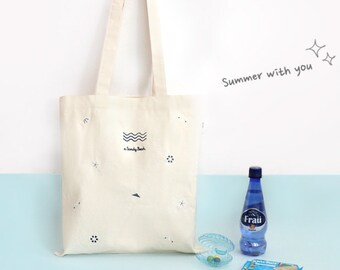 Sandy Beach Tote Bag, Embroidery pattern, Eco Friendly Market Bag